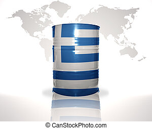 barrel with greek flag on the world map background