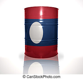barrel with laotian flag on the white background