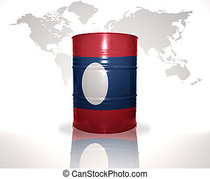 barrel with laotian flag on the world map background