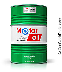 Barrel with motor oil lubricant isolated on white background