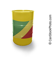 Barrel with Republic of the Congo flag on the white...