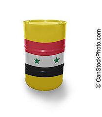 Barrel with Syrian flag