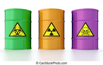 Barrel with toxic waste - 3D illustration of industrial...