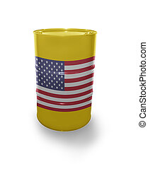Barrel with United States of America flag