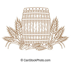 Barrel with wheat ears. Vector ornate design element....