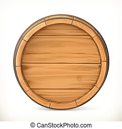 Barrel. Wooden sign. Vector 3d icon