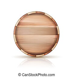 Barrel Wooden Sign Vector. 3d Icon Set Isolated On White Background.