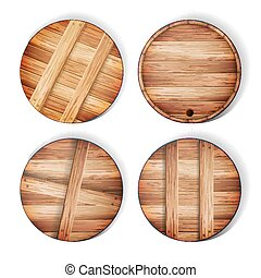 Barrel Wooden Sign Vector. 3d Icon With Shadow And Reflection