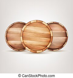 Barrel Wooden Sign Vector. End Top Isolated Background