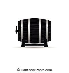 barrel wooden strong in black color illustration