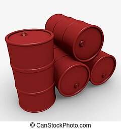 Barrels - Abstract 3d illustration: Red barrels over white