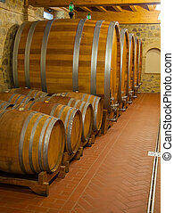 Barrels for storage of wine in the winery cellar