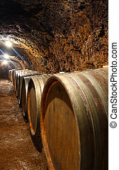 Barrels in a wine cellar