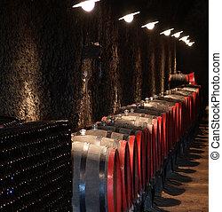 Barrels in a wine-cellar. Hungary, Tokaj.