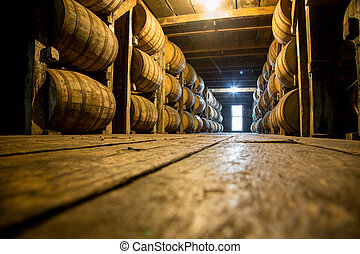 Bourbon Barrels or Casks in an aging cellar