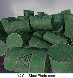 Barrels of biological waste. Isolated . 3D render.