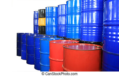 barrels of different colors on a white backgroun