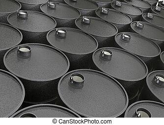 barrels of oil - Industrial illustration several barrels of...