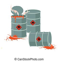 Barrels of Red acid. Hazardous chemical waste. Vector...