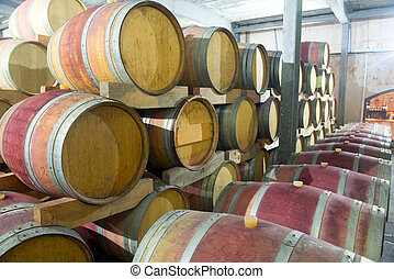 Barrels of wine on a wine farm in South Africa