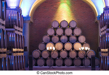 Barrels - Pile of barrels in a cellar