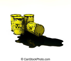 Barrels which contain radioactive waste