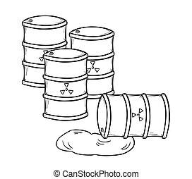 barrels with dangerous fluid