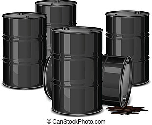 Barrels with oil - Metal barrels with oil on white ...
