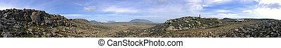 Barren Kjolur Landscape - The barren, rough terrain of the...