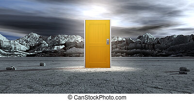 An ominous barren landscape scene with a closed isolated yellow door in the centre under an ethereal spotlight