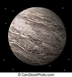 Barren rocky planet or moon in space