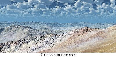 Barren stone desert - Computer generated 3D illustration...