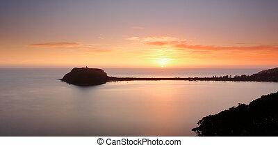 barrenjoey, sur, australie, levers de soleil, pittwater