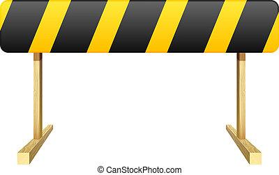 barrera, aislado, amarillo, stripe., fondo., negro, v,...