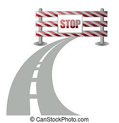 barrera, camino, ilustración