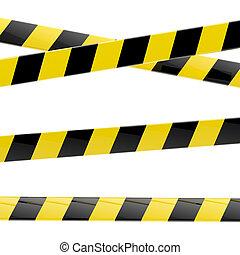 barrera, negro, cintas, brillante, aislado, amarillo