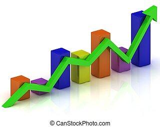 barres, affaires colorent, diagramme, croissance, vert, flèche