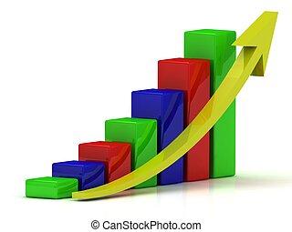 barres, affaires colorent, diagramme, jaune, croissance, flèche