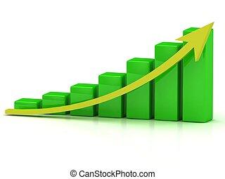 barres, business, graphique, croissance, vert, rendement