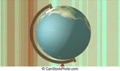barres, couleur, globe, retro, fond, animé, résumé