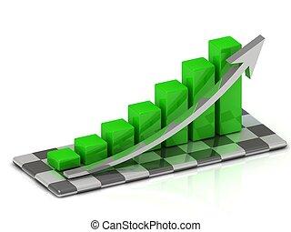 barres, croissance, vert, diagramme, flèche