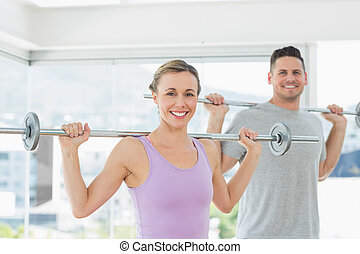 barres disques, levage, femme homme, fitness, studio