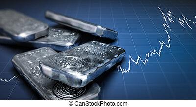 barres, encaisse-or, coût, argent, diagramme