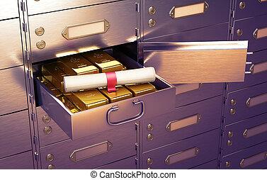 barres, entiers, formulaire, or, sûr, illustration, mensonges, cellule, scroll., document, ouvert, 3d