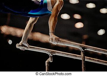 barres, exercice, gymnaste, parallèle