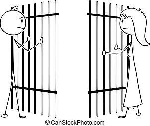 barres, femme, divisé, dessin animé, prison, couple, homme