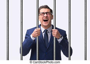 barres, homme affaires, jeune, prison