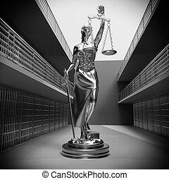 barres, justice, rendre, prison, dame, 3d
