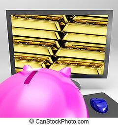 barres, or, écran, trésor, valable, brillant, spectacles