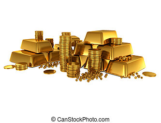 barres, pièces, or, 3d